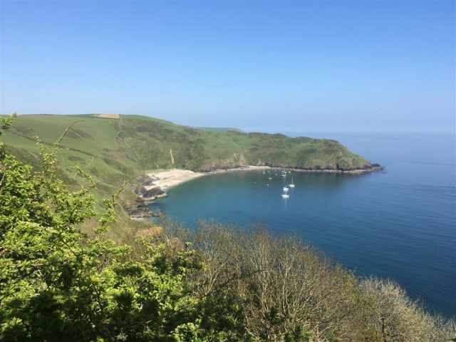 Secluded beach of Lantic Bay near Fowey