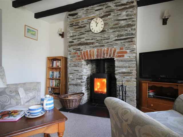 Feature fireplace with wood burner