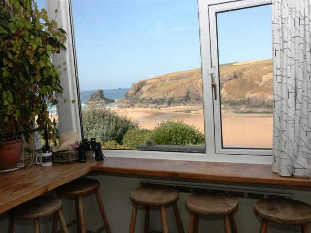 Breakfast bar with views over Porthcothan Bay