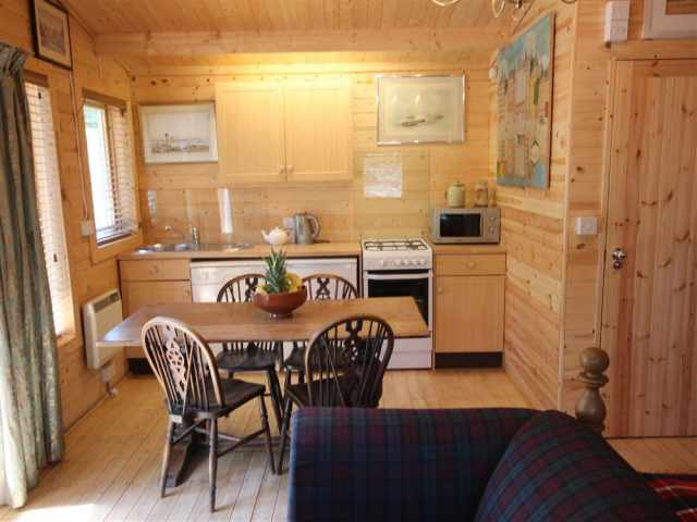 Cabin kitchen and dining area.