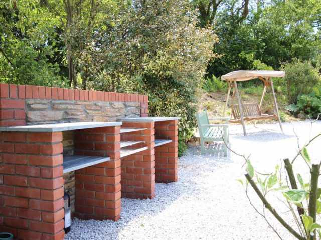 Cornish stone and brick BBQ